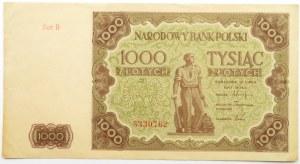 Polska, RP, 1000 złotych 1947, seria H, ładne