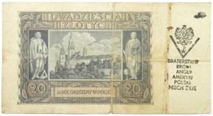 Polska, Generalna Gubernia, 20 złotych 1940, seria G, NADRUK POWSTAŃCZY