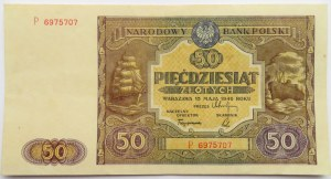 Polska, RP, 50 złotych 1946, seria P, ładne