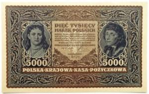 Polska, II RP, 5000 marek 1920, III serja A, UNC, rzadkie
