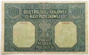 Polska, DYREKCJA, 500 marek 1919, numer 636265, bardzo rzadkie