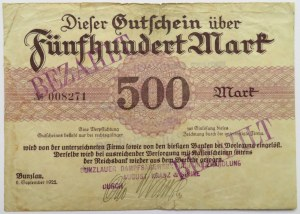 Polska/Śląsk, Bolesławiec, 500 marek 1922, nr 008271
