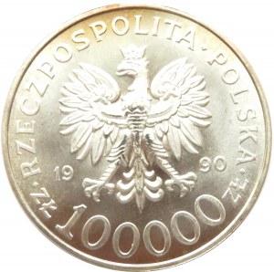 Polska, III RP 100000 złotych 1990, 10 lat Solidarności, menniczy egzemplarz