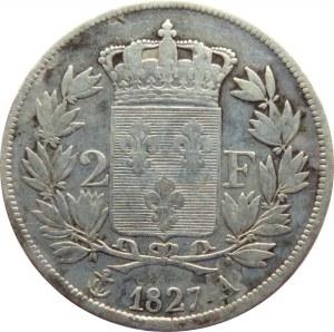 Francja, Karol X, 2 franki 1827 A, Paryż