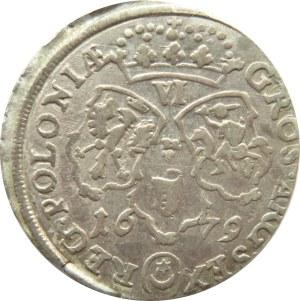 Jan III Sobieski, szóstak 1679 TLB, Bydgoszcz, duże popiersie, przebity napis w otoku