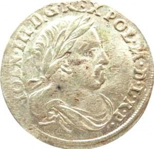 Jan III Sobieski, szóstak 1678, Bydgoszcz, owalna tarcza i kwiatek między tarczami, rzadki