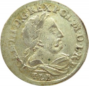 Jan III Sobieski, szóstak 1681 TLB, Bydgoszcz, nierówna liczba klejnotów w koronie