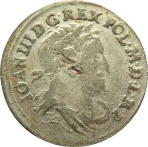 Jan III Sobieski, szóstak 1678, Bydgoszcz, duże popiersie króla, herb w prostokątnej tarczy
