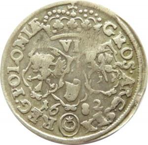 Jan III Sobieski, szóstak 1682, Bydgoszcz, dwukrotnie uderzony, nierówna liczba klejnotów w koronie