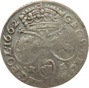 Jan II Kazimierz, szóstak 1662 NG, Poznań, bez obwódek