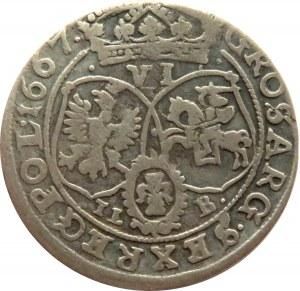 Jan II Kazimierz, szóstak 1667 TLB, Bydgoszcz, kropki nad tarczami