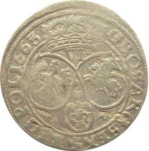 Jan II Kazimierz, szóstak 1663 AT, Bydgoszcz, kwiat między tarczami