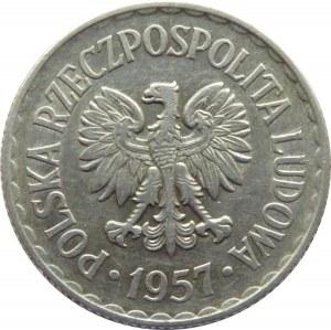 Polska, PRL, 1 złoty 1957, Warszawa, ładny egzemplarz