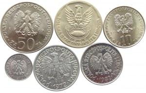 Polska, PRL, lot 6 monet , aluminium, miedzionikiel
