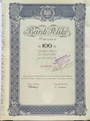 Polska, Akcja Banku Polskiego na 100 złotych, 2 emisja, Warszawa 1934 - kolor niebieski