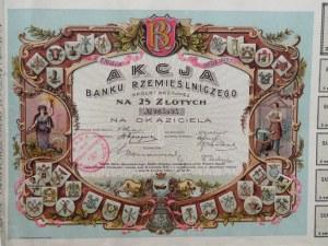 Polska, Akcja Banku Rzemieślniczego na 25 złotych, 2 emisja, Łódź 1925, Nr 005895