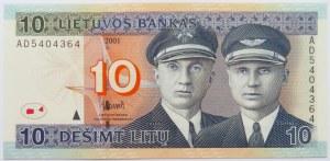 Litwa, S. Darius/S Girenas, 10 litów 2001, seria AD, UNC