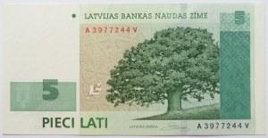 Łotwa, 5 łatów 2007, seria A, UNC