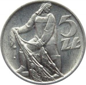 Polska, PRL, Rybak, 5 złotych 1959, UNC