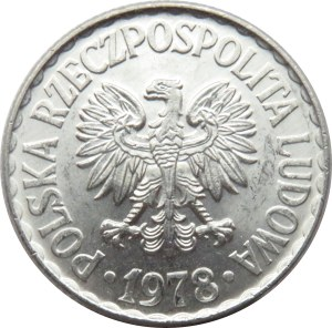 Polska, PRL, 1 złoty 1978 bez znaku, UNC