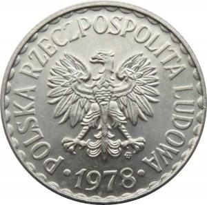 Polska, PRL, 1 złoty 1978 ze znakiem mennicy, Warszawa, UNC