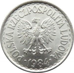 Polska, PRL, 1 złoty 1984 ze znakiem mennicy, Warszawa, UNC