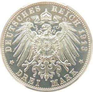Niemcy, Saksonia, Wieża 1813-1913, 3 marki 1913, PCGS PR64DCAM