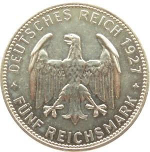 Niemcy, Republika Weimarska, 5 marek 1927, 450 lat Uniwersytetu w Tubingen, Stuttgart, UNC