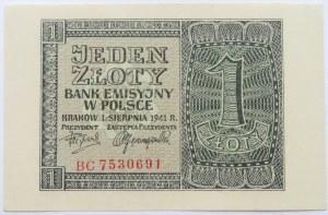 Polska, Generalna Gubernia, 1 złotych 1941, seria BC, UNC, ale?