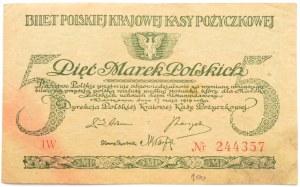 Polska, II RP, 5 marek 1919, B. Głowacki, seria IW