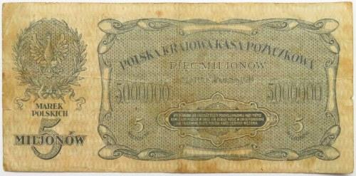 Polska, II RP, 5 milionów marek 1923, seria A, rzadkie