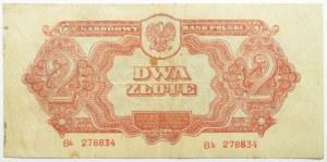 Polska Ludowa, seria lubelska, 2 złote 1944, seria Bk