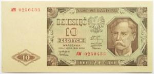 Polska, RP, 10 złotych 1948, seria AW, UNC