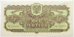Polska Ludowa, seria lubelska, 5 złotych 1944, seria CB, UNC