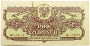 Polska Ludowa, seria lubelska, 5 złotych 1944, seria YO ...-owe