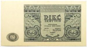 Polska, RP, 5 złotych 1946, bez oznaczenia serii, UNC