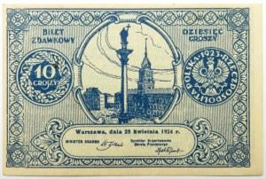 Polska, II RP, bilet zdawkowy 10 groszy 1924, UNC