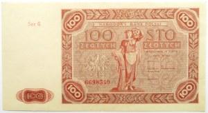 Polska, RP, 100 złotych 1947, seria G, piękne