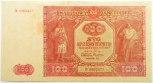 Polska, RP, 100 złotych 1946, seria D, ładne
