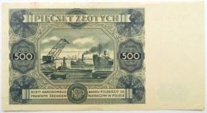 Polska, RP, 500 złotych 1947, seria U2, piękne