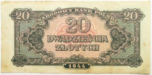 Polska Ludowa, seria lubelska, 20 złotych 1944, seria EK ...-owe