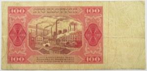 Polska, RP, 100 złotych 1948, seria FY, bez ramki wokół niminału