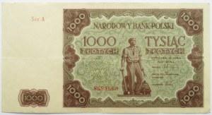 Polska, RP, 1000 złotych 1947, seria A, ładne