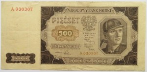 Polska, RP, 500 złotych 1948, seria A, BARDZO RZADKIE!