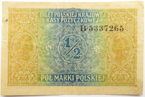 Polska, II RP, 1/2 marki 1916 Generał seria B