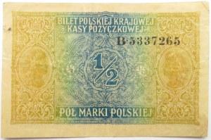Polska, II RP, 1/2 marki 1916