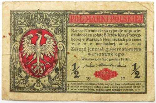 Polska, II RP, 1/2 marki 1916 jenerał seria A