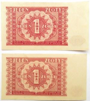 Polska, RP, 1 złotych 1946, bez oznaczenia serii, dwie sztuki, UNC