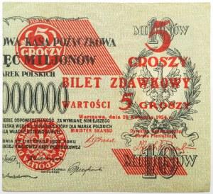 Polska, II RP, bilet zdawkowy 5 groszy 1924, prawa połówka, ładne