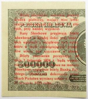 Polska, II RP, bilet zdawkowy 1 grosz 1924, prawa połówka, AN, UNC